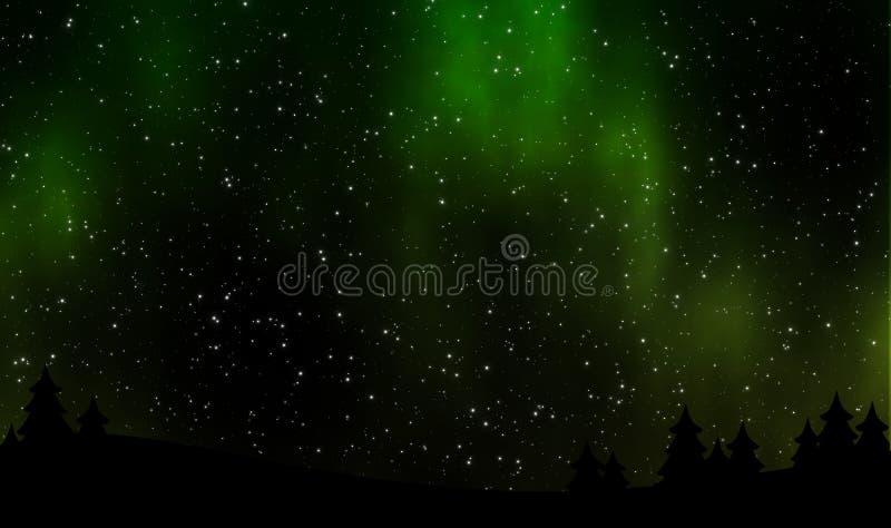 Nocne niebo widok z boreails i gwiazdy polem royalty ilustracja
