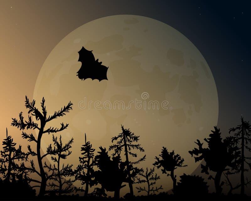 Nocne niebo z łuną i księżyc Nietoperz lata nad lasem royalty ilustracja