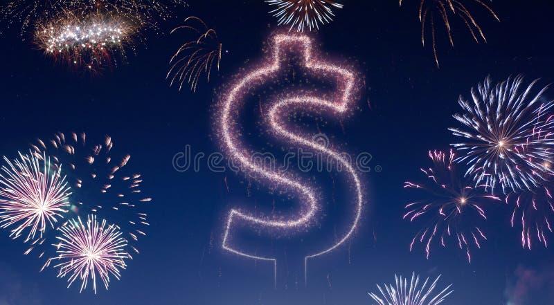 Nocne niebo z fajerwerkami kształtującymi jako Dolarowy symbol serifs ilustracji