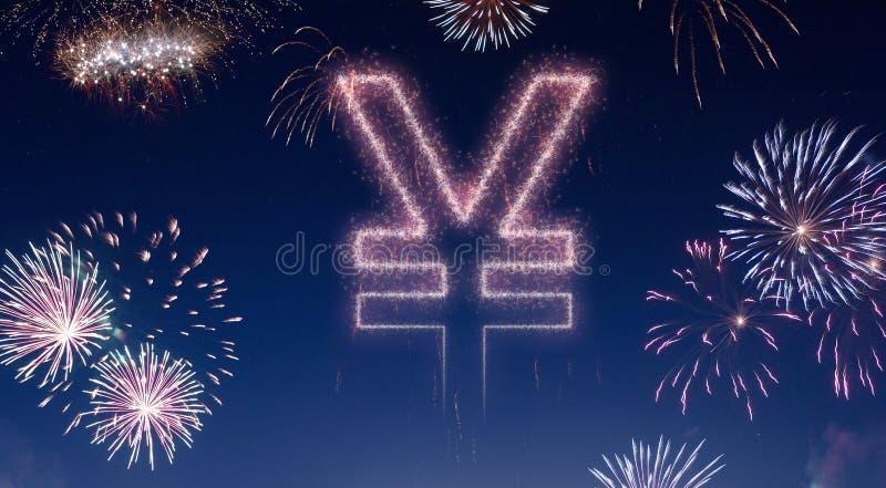 Nocne niebo z fajerwerkami kształtującymi jako jenu symbol serifs ilustracja wektor