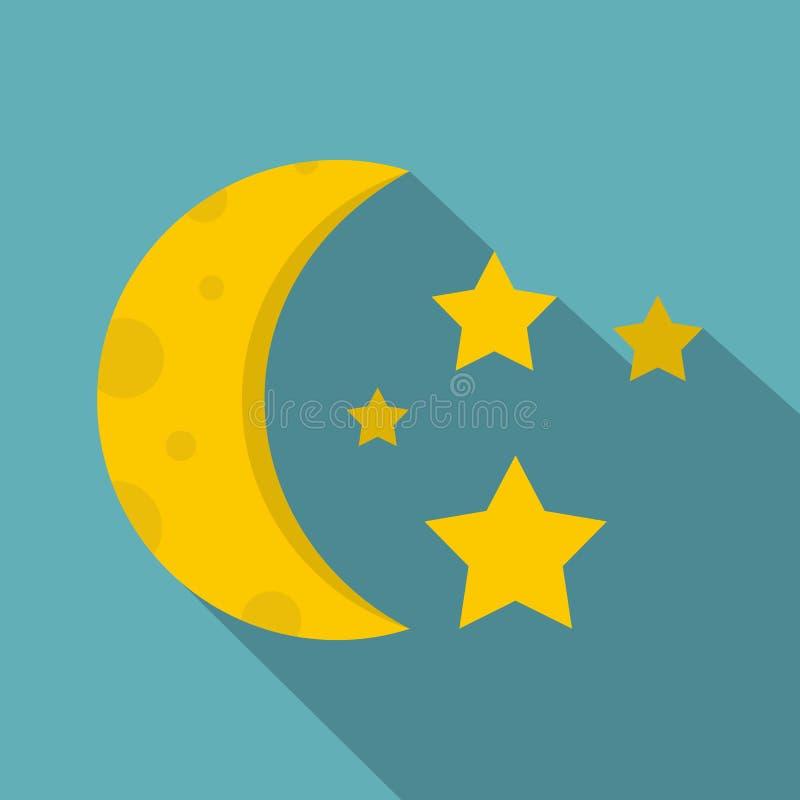 Nocne niebo z gwiazdami i księżyc ikoną, mieszkanie styl ilustracja wektor