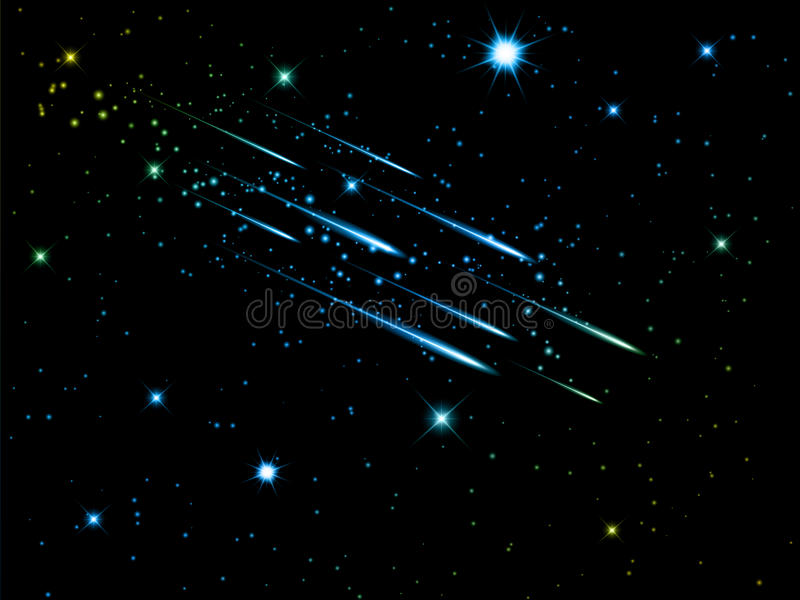 Nocne niebo z mknącymi gwiazdami ilustracji