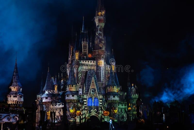 Nocne projekcje kolorów na zamku Kopciuszka z partii Halloween obrazy royalty free