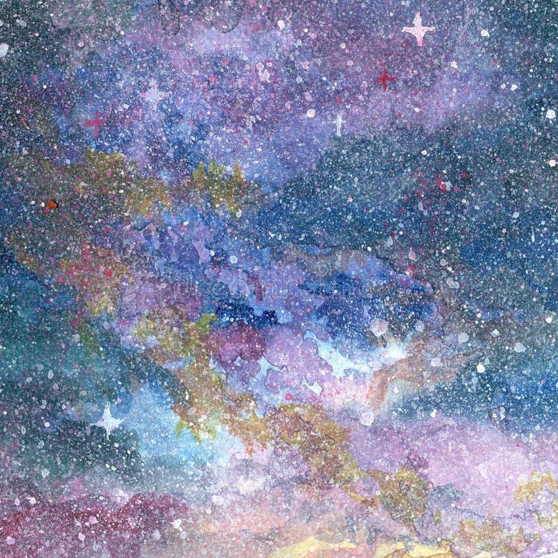 Nocnego nieba fiołkowy purpurowy błękitny tło na akwarela guaszie zdjęcia stock