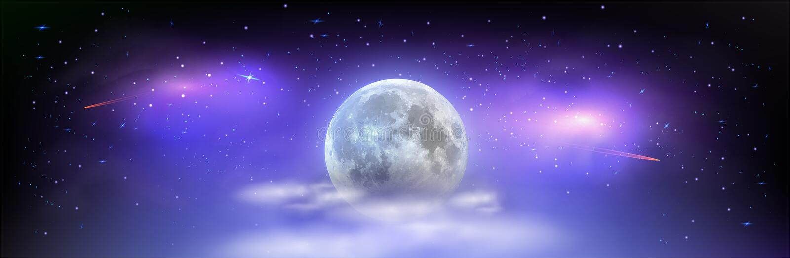Nocni oblohaBeautiful wide picture of space with full moon hidden behind the clouds. Mystical night sky with stars. Comets and milky way vector illustration