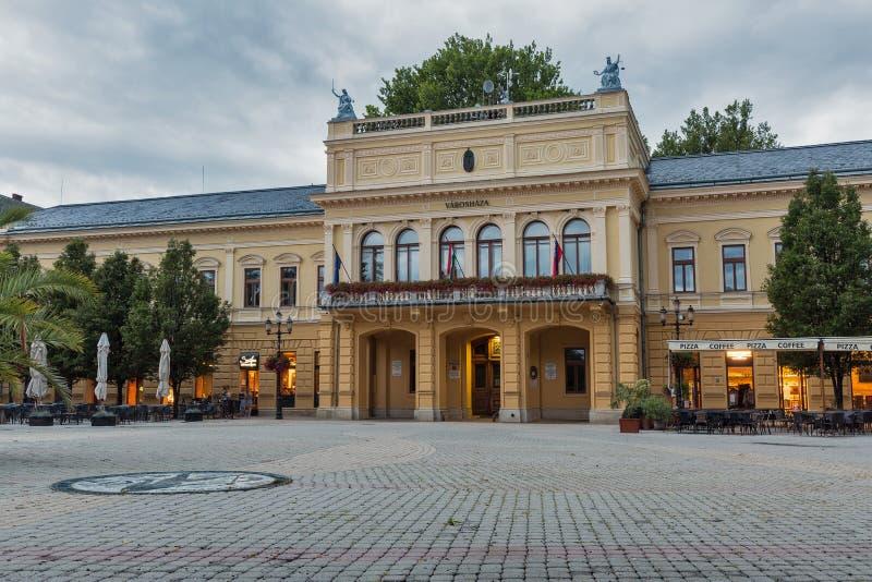 Nocny widok biura burmistrza w Nyiregyhazie, Węgry obrazy stock