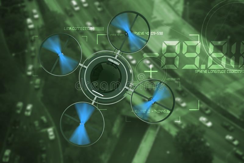 Noctovision Spying Dron. Remote Surveillance Aircraft Above City Traffic Abstract 3D Illustration stock illustration