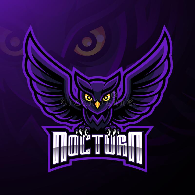 Nocturnal bird owl mascot logo design royalty free illustration