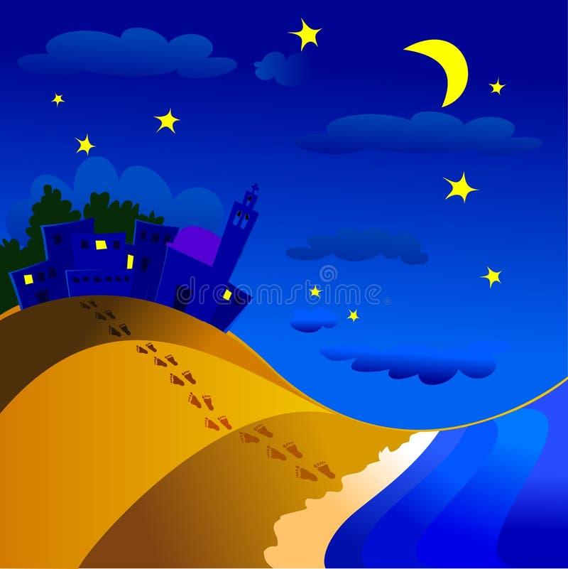 Nocturnal landscape vector illustration