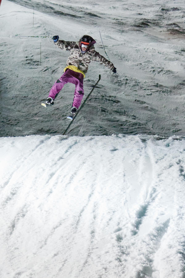 Nocturnal Ski Jump Contest Editorial Photography