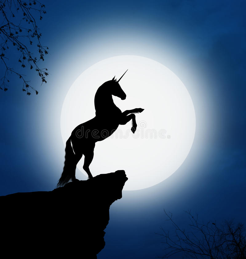 Download Nocturnal unicorn stock photo. Image of rock, trees, blue - 20996672