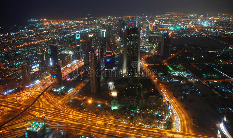 Nocturnal view from the observation deck. Burj Khalifa. Dubai, UAE royalty free stock image