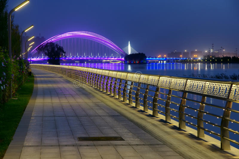Nocturne. The nocturne of Fen River in Taiyuan, Shanxi, China. The bridge is Nanzhonghuan Bridge stock images
