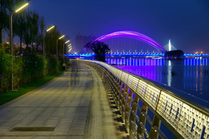 Nocturne. The nocturne of Fen River in Taiyuan, Shanxi, China. The bridge is Nanzhonghuan Bridge royalty free stock photo