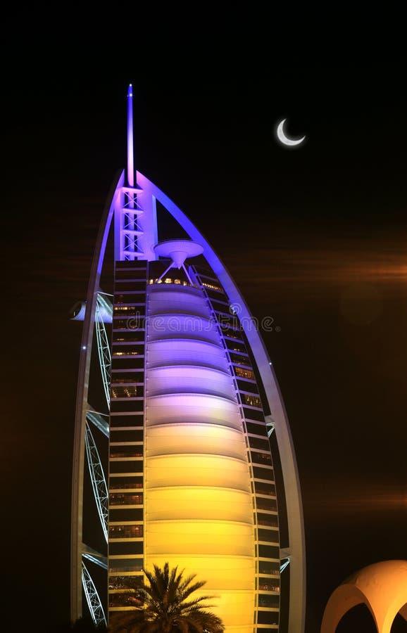 Nocturne do hotel do árabe de Burj imagem de stock royalty free
