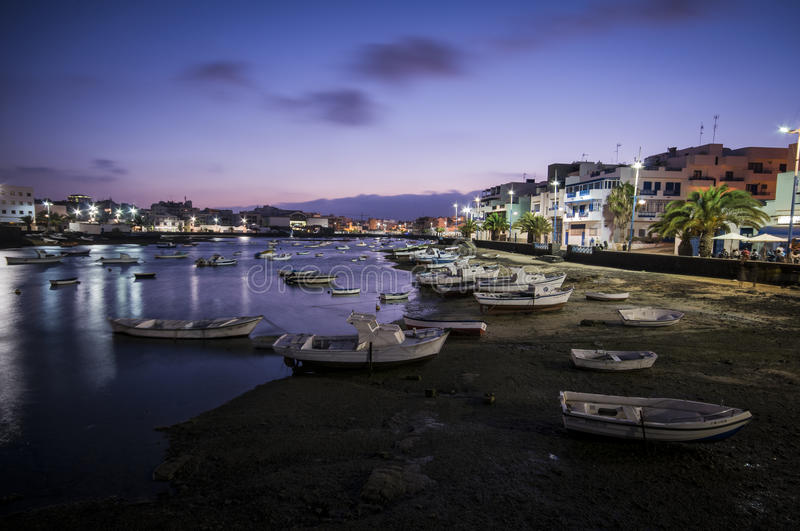 Nocturne landscape. Nocturne marine view in Arrecife, Lanzarote stock images