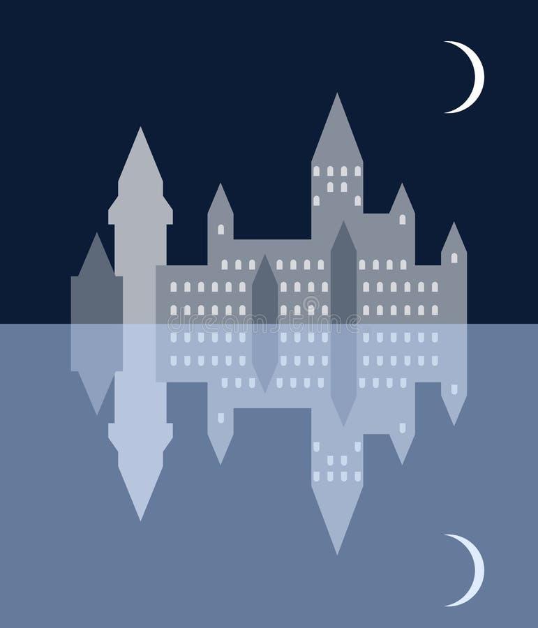 Nocy średniowieczny miasteczko, księżyc i one, odbicia w jeziorze ilustracji