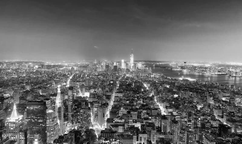 Nocy światła Manhattan usa - widok z lotu ptaka Miasto Nowy Jork - obraz stock