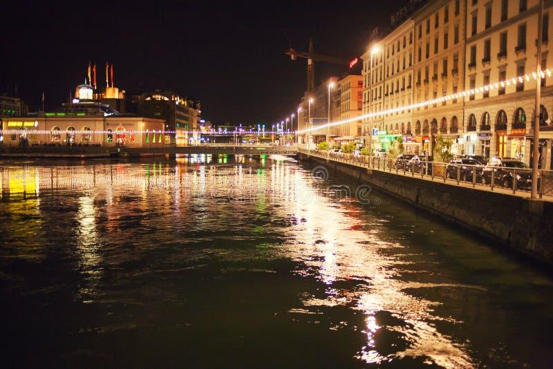 Nocy światła w Geneve zdjęcie royalty free