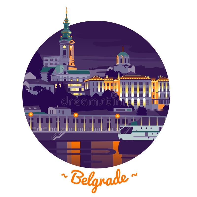 Nocy Belgrade wektoru ilustracja royalty ilustracja