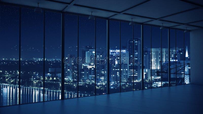 Nocy biura wnętrze Mieszani środki obraz royalty free