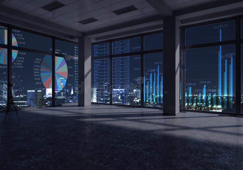 Nocy biura wnętrze Mieszani środki zdjęcie stock