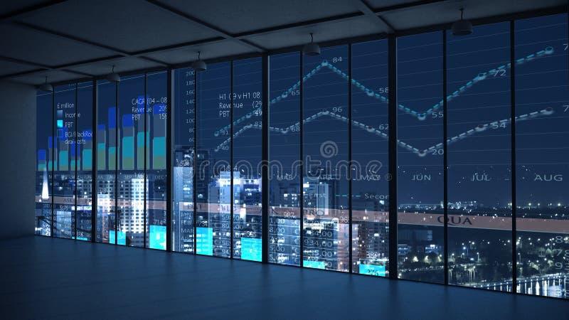 Nocy biura wnętrze Mieszani środki obraz stock