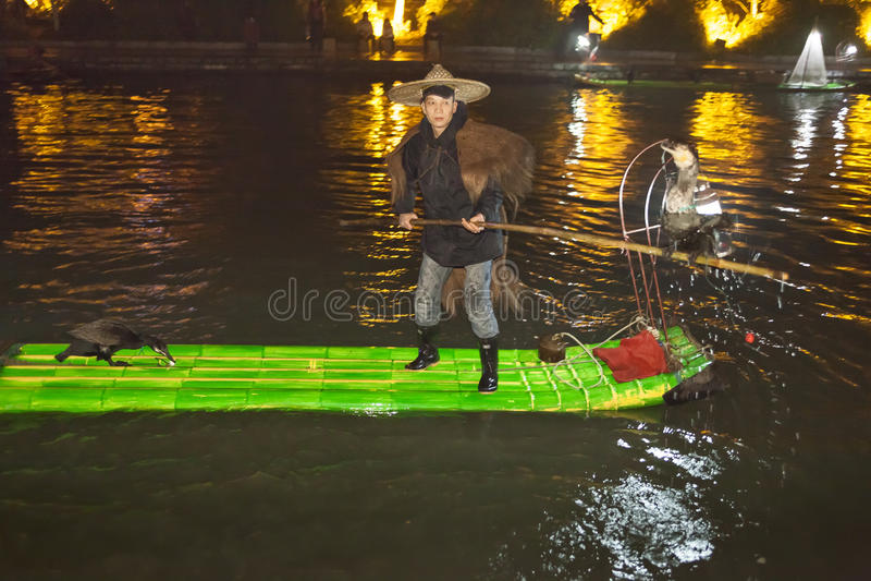 Nocy celownicza sceneria Dwa Rzeczny i Cztery jeziora Ja jest popularnym wycieczki turysycznej punktem Guilin miasto obrazy royalty free