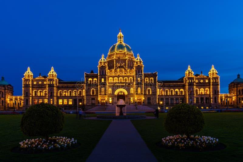 Nocy fotografia iluminujący parlamentu budynek obrazy stock