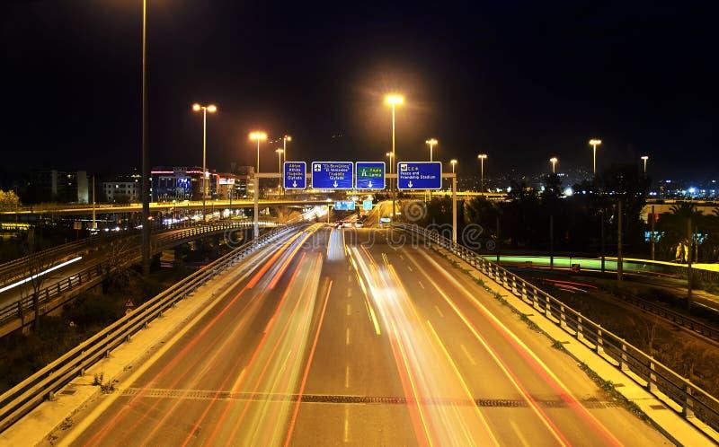 Nocy fotografia Paleo Faliro Ateny Grecja - długa ujawnienie fotografia obraz royalty free