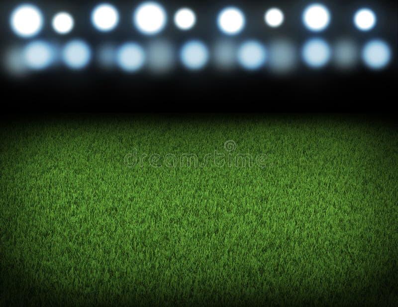 Nocy futbolowa arena iluminująca światłami reflektorów ilustracja wektor