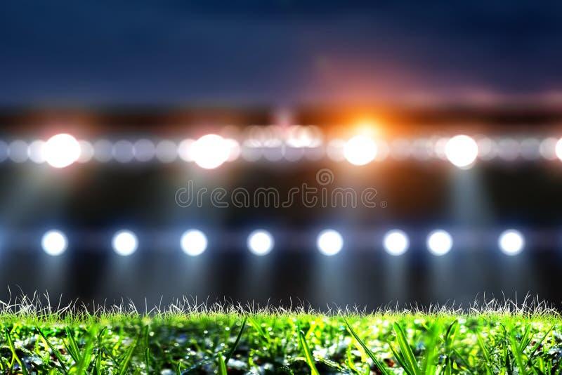 Nocy futbolowa arena w światłach zamkniętych w górę royalty ilustracja
