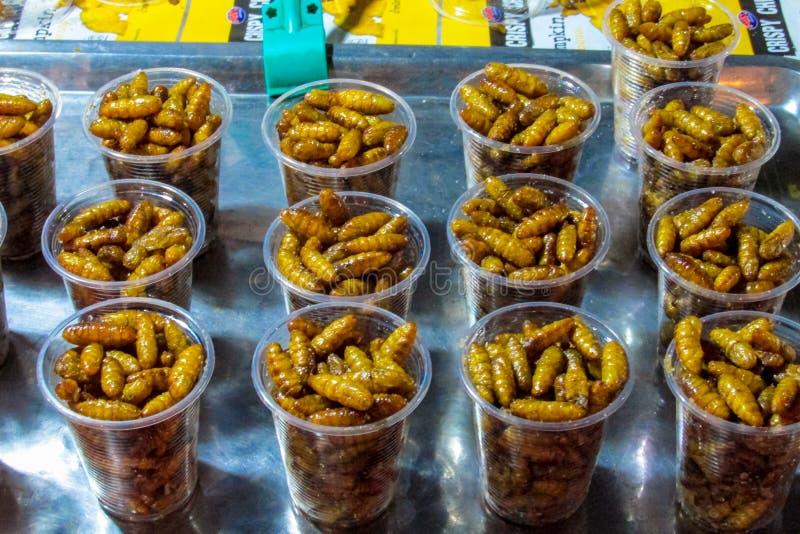 Nocy jedzenia rynek w Tajlandia, tradycyjni azjata rynku insekty obraz stock