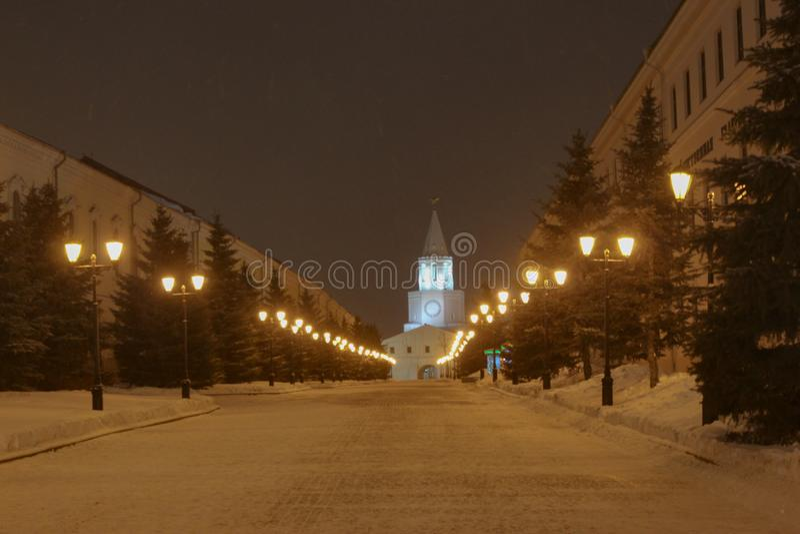 nocy Kazan pejzaż miejski obrazy stock