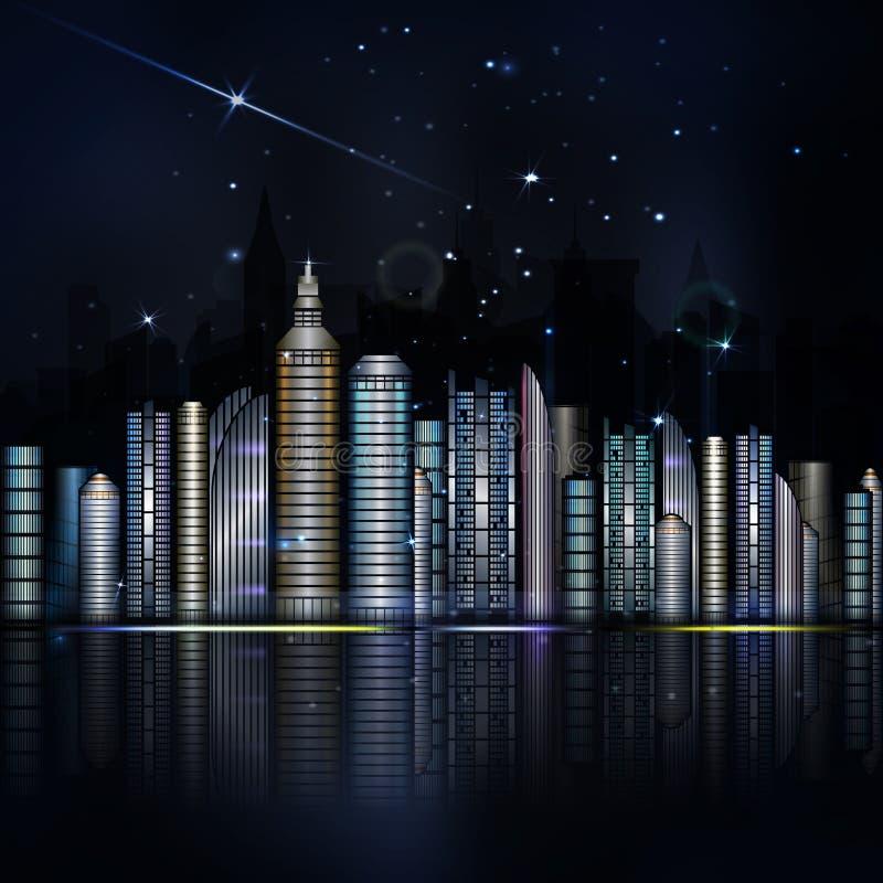 Nocy kolorowy miasto w wektorze Miasteczko z drapaczem chmur, rzeka, ligh ilustracji