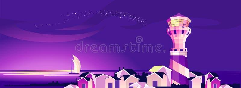 Nocy krajobrazowa latarnia morska royalty ilustracja