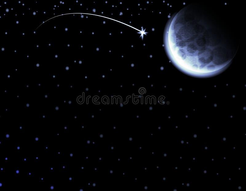nocy księżyc nieba spadająca gwiazda ilustracji