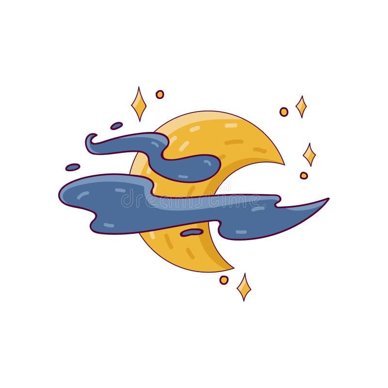 Nocy księżyc otaczająca chmurami i jaskrawymi gwiazdami Kolorowa bajki ikona w kreskowym stylu Odosobniony wektorowy projekt dla royalty ilustracja