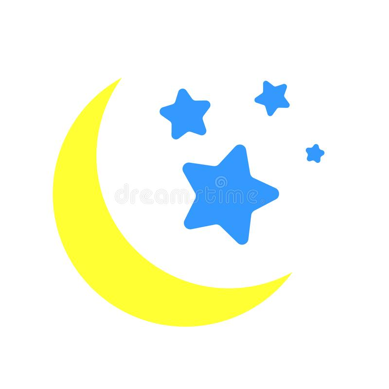 Nocy księżyc z gwiazda wektoru ikoną nocy księżyc z gwiazdy ilustracji symbolem ilustracja wektor