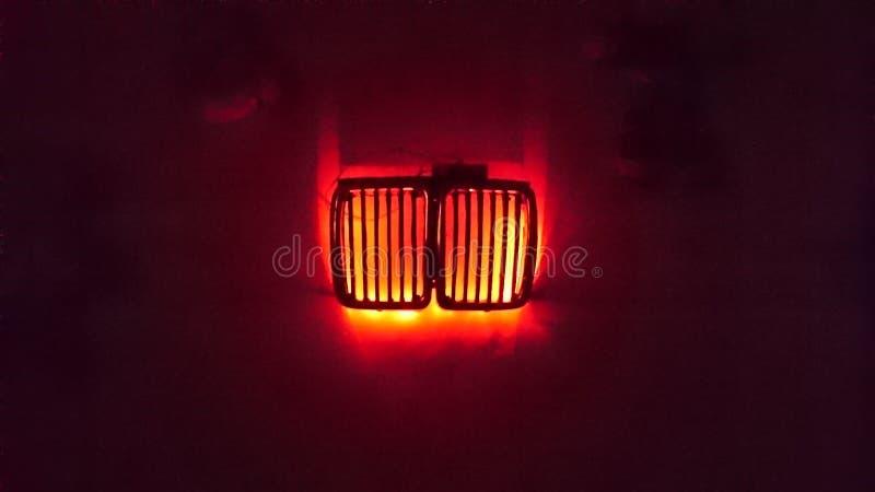 Nocy lampy bmw grill zdjęcie stock