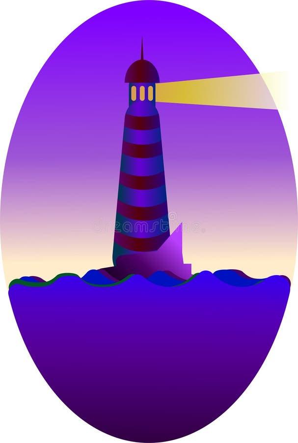Nocy latarnia morska wskazuje sposób ilustracja wektor