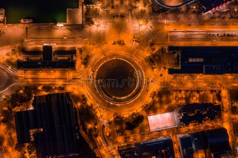 Nocy lifgts Barcelona Hiszpania rondo powietrzna odgórnego widoku fotografia zdjęcie royalty free