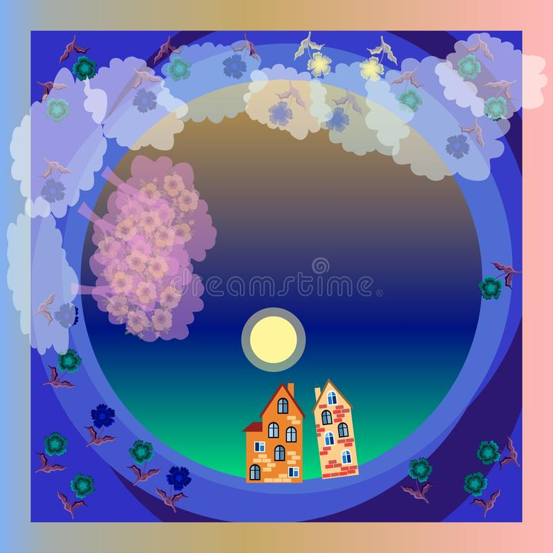 Nocy mgła światło księżyca bloom ogród Wiosna Widok od wierzchołka ilustracja wektor