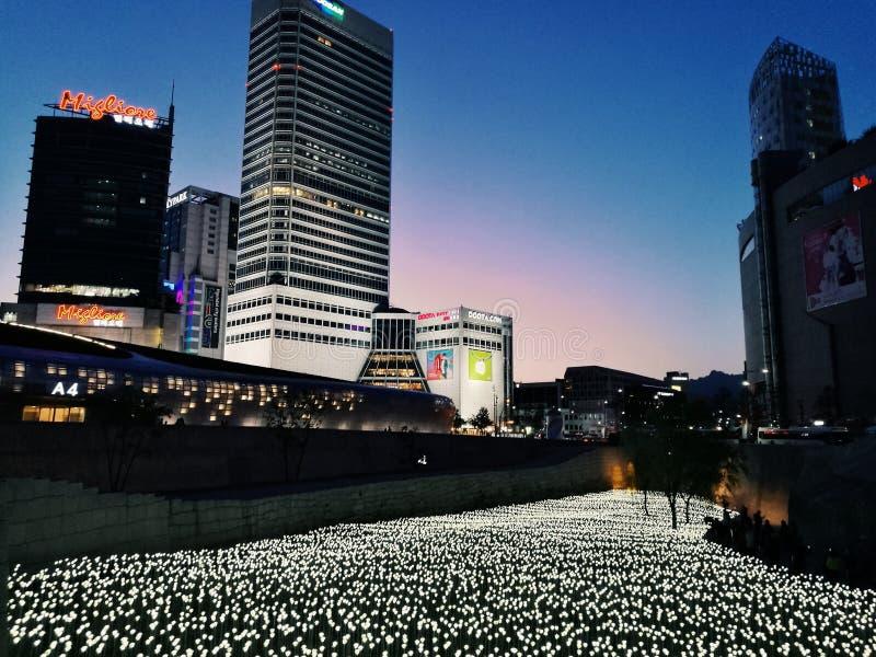 Nocy miasta życie z dużo zaświeca zdjęcie stock