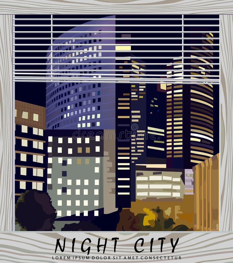 Nocy miasta centrum biznesu wektoru ilustracja Losu Angeles Obrończy centrum biznesu w Paryskim Francja zdaniem okno ilustracji