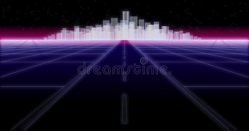 Nocy miasta drogi 80 Retro tło 3d odpłaca się ilustracja wektor