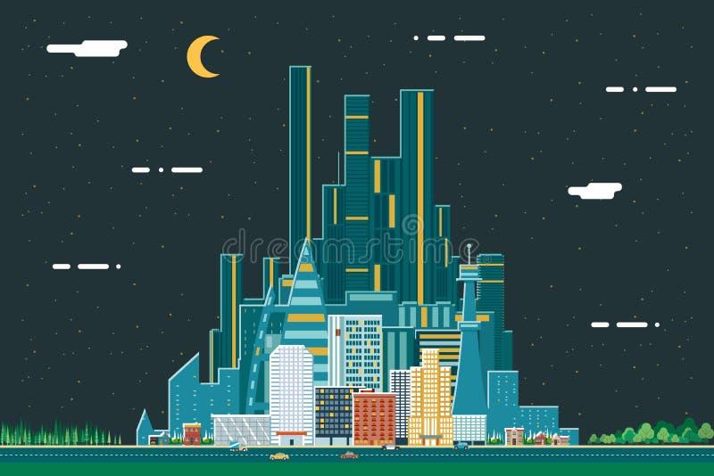 Nocy miasta Real Estate lata Miastowego Krajobrazowego tła projekta pojęcia ikony szablonu wektoru Płaska ilustracja ilustracja wektor