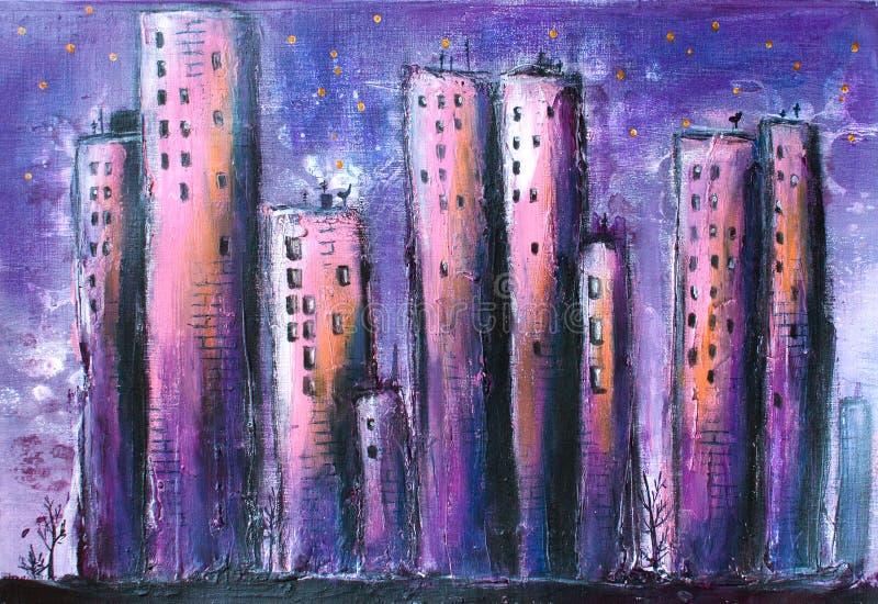Nocy miasto, Grodzki Akrylowy obraz/ ilustracji