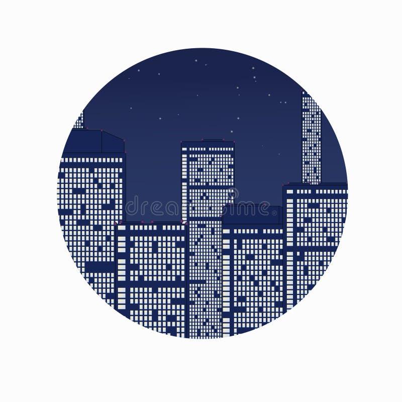 Nocy miasto pod gwiazdami. obrazy stock