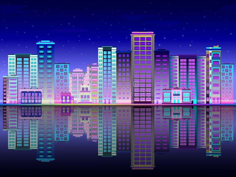 Nocy miasto stoi na brzeg rzeki i odbiciu w światło linii horyzontu z multistorey budynkami royalty ilustracja